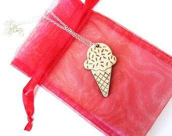 Wood ice cream sugar cone necklace ~ Vanilla, bff necklace, ice cream cone pendant necklace, Laser cut and engraved from birch wood,