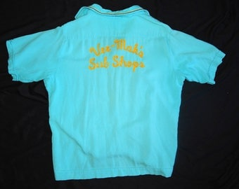 Vintage 50's turquoise blue yellow embroidered men bowling shirt Vic name rockabilly atomic by King Louie Vee-Mak's Sub Shops - XL