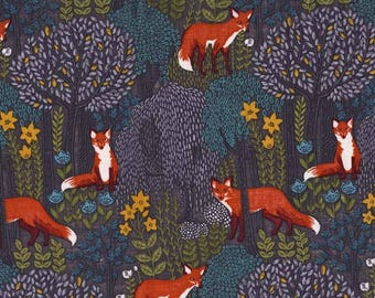 INTO THE WOODS in Dusk, Woodland Fabric, Fox Fabric, Michael Miller Fabrics, Woodland Baby Quilt, Quilt Fabric, Quilting, Fabric By the Yard