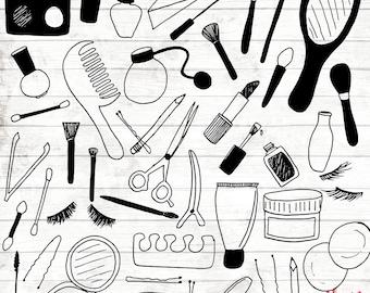 50% OFF Makeup Clipart - Hand Drawn makeup bag Clipart - Vector Makeup Art - Digital Paper - cosmetics Clip Art - Lipstick Clipart - 68