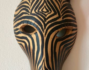 Handmade Large Hand-painted Zebra Wooden Mask from Kenya, Africa