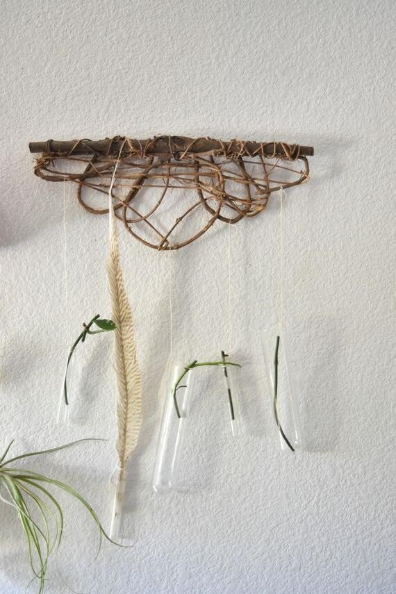 handmade lab glass bud starter / wall hanging vase pocket