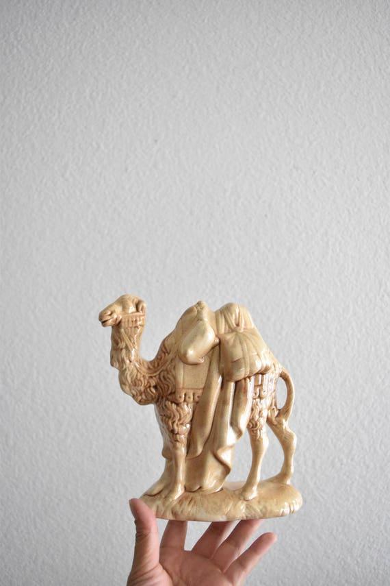 large vintage porcelain beige camel figurine sculpture