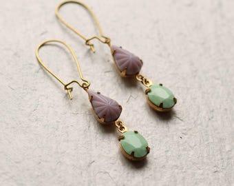 Lilac Mint Earrings ... Purple Green Pastel Drop Earrings