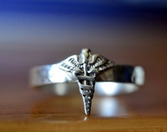 Silver Caduceus Ring, Engravable Sterling Band, Personalized Graduation Gift, Medical Doctor or Nurse Gift, Caduceus of Mercury Ring