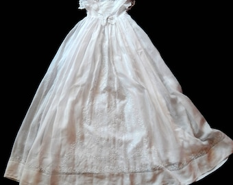 Vintage French Christening Gown with Fine Hand Embroidery and Petticoat
