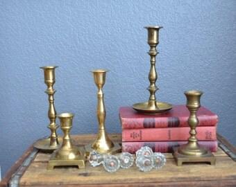 Collection of 5 Vintage Brass Candlesticks Gold Set Lot Mantle Shelf Heavy Wedding Decor Boho French Farmhouse Candle Holders Christmas