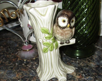 OMC Japan Ceramic Vase Hand Painted Tree with OWL on branch