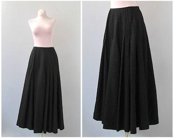 BLACK BEAUTY Antique 1900 - 1910 Skirt   Edwardian Black Walking Skirt   Long Full Pleated Skirt   Historical Steampunk Vintage   Size Small