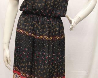 Vintage 70's, Lizzy & Johnny by Lucero, Blue Multi Color Floral Print Sheer Short Sleeve Blouson Dress, Pull On Size 6, V70225