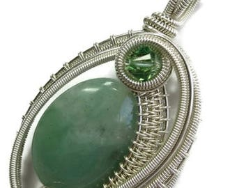Aventurine & Sterling Silver Wire Wrapped Woven Oval Necklace