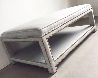 Custom Upholstered Ottoman W/Shelf