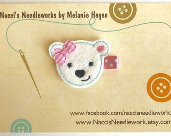 Polar Bear Hair Clip - Felt Hair Accessory - Felt Bear Applique Hair Clip