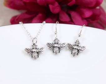 Sterling Silver Bee Necklace and Earrings Jewelry Set - Bumble Bee Necklace and Earrings Set - Honey Bee Necklace and Earrings Set