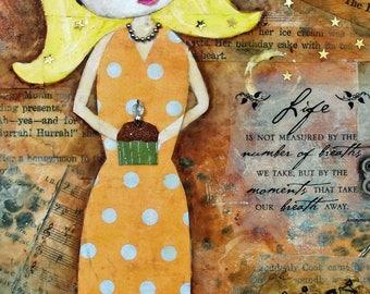 BIRTHDAY GIRL, ACEO, Cupcake, Yellow Polka Dot, Celebration, Mini Art Print, Collectible Art, Trading Card, Mixed Media Art Print, Art Card