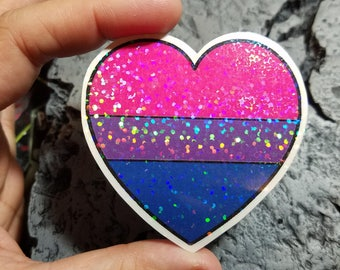 Holographic Sticker - Bisexual flag heart