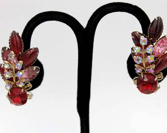 Red and Pink Rhinestone Earrings with Aurora Borealis
