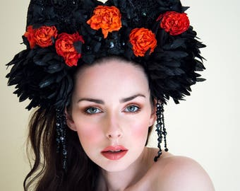 Faux Leather & Lace Gothic 'Lilith' Black and Orange Couture Headdress