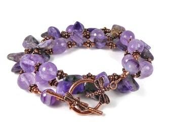 Convertible Bracelet Necklace, Amethyst, Charoite, Layering Necklace, Purple Gemstone, Beaded Gemstone, Boho