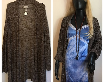 Cozy brown Chicos open front Duster/Cardigan