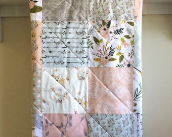 Baby Girl Quilt, Floral, Pastel Quilt, Blush Baby Bedding, Minky Baby Quilt Handmade, Baby Blanket, Woodland, Pink Baby Quilt, Fox and Fawn