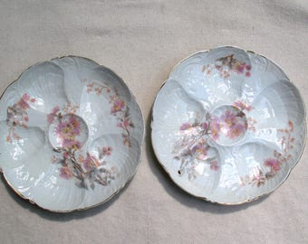 Pair of Antique German Porcelain Oyster Plates - 19th Century Porcelain Oyster Plate - Gourmet Cooking-