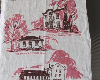 Vintage 70's Early Days in Guelph Kitchen Tea Towel - 70's Kitchen Linens - Memorabilia - Manse, McTague Cottage, Allan's Mill - Ontario