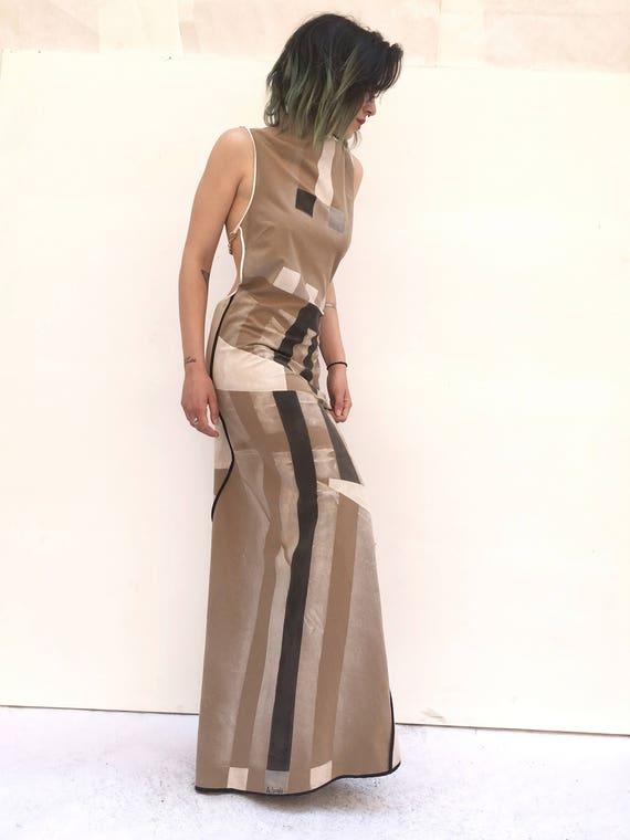 """Lola Darling Jersey Cotton Bare Back Hand painted Long Dress ART WORK DRESS """"Opera Abitabile"""" By Adolfo Lugli Artist Art of Work Certified"""
