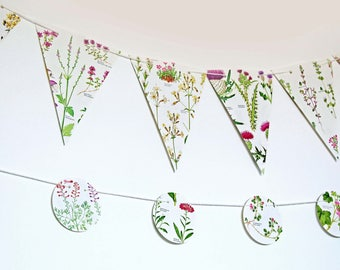 Double-sided Pink Flowers Bunting, Pink Floral Garland, Wedding Garland,  eco-friendly banner, tea party decor