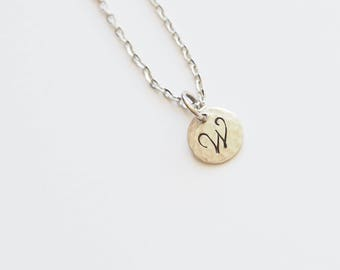 Stamped Initial, Monogram Necklace, Personalized, Custom, Gift for Friend, Mom, Daughter, Initial, Charm, Initial Necklace, Letter