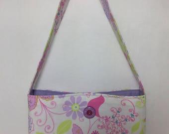 Little Girl's Butterfly & Flowers Fabric Purse (white, purple, pink)