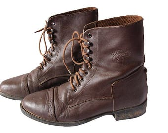 Vintage Brown Lace Up Ankle Riding Boots Women's Size 8.5