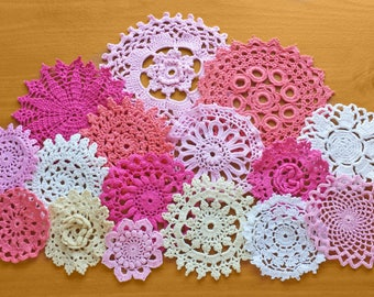 16 Hand Dyed Pink Vintage Crochet Doilies, Pink, White, and Beige Medallions, Crochet Mandalas for Dream Catchers and Crafts