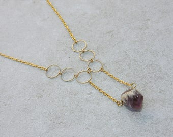 Geometric Dogtooth Amethyst Pendant in Gold Plate // Amethyst Necklace// Semi-Precious Gemstone Jewelry // Gift for Her // Raw Stone Jewelry
