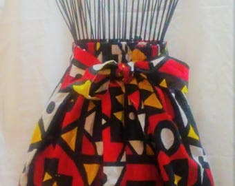 Tribal Print Nande A Line Above Knee Skirt with Pockets and Attached Sash Summer Short Skirt Party Skirt Holiday Fashions