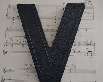 Vintage Salvage Industrial Signage Plastic Black Capital Lowercase Letter V