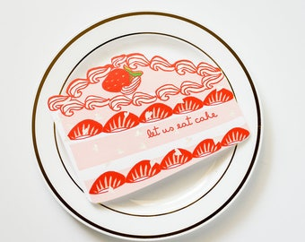 Let Us Eat Cake! Die Cut Congratulations and/or Birthday Greeting Card with Holographic Foil