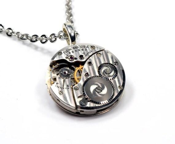 RARE Steampunk Necklace, ELGIN Steampunk Watch Necklace, STRIPED Silver Steam Punk Necklace, Steampunk Jewelry By VictorianCuriosities