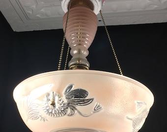 Vintage 3 Chain Pink Glass Art Deco Style Ceiling Light Fixture