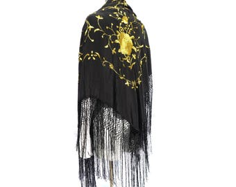 1950s Black and Yellow Embroidered Piano Shawl