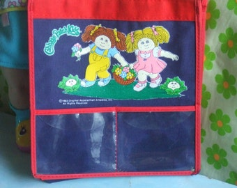 Vintage  Cabbage Patch Kids Tote Bag. Child Size. Nylon Canvas and Vinyl. 2 Outside Transparent Pockets. Red and Midnight Blue. Pre Loved.