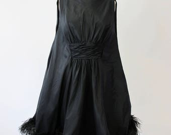 1960s Lee Claire Silk Faille Ostrich Feather Tent Dress