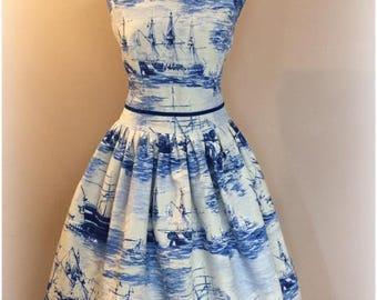 Swing dress 'Sailing ships'