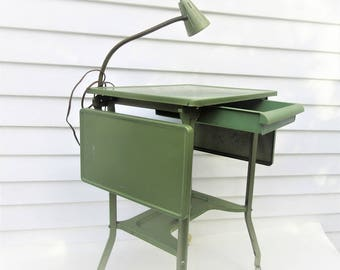 Vintage Typewriter Table | Metal Table | Industrial Rolling Cart | Reading Lamp | Expandable Table| Folding Desk