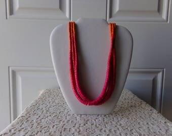 Vintage Wooden Necklace - Painted Beads, Draper & Damon's, Fucshia and Orange, Cruise, Vintage Jewelry, Vintage Glamour, Retro:  AVJ-108