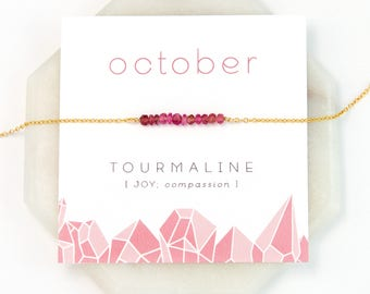 October Birthstone Necklace, Pink Tourmaline Bar Necklace, Tiny Stone Necklace, Pink Gemstone, Rose Gold Choker, Healing Crystal Jewelry