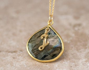 Labradorite Pendant Necklace, Personalized Initial Necklace, Gold Framed Stone, Tear Drop Gemstone, Natural Stone Jewelry, Gold Filled Chain