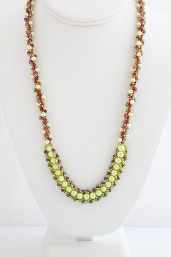 Lime Green & Coral Fiesta Spiral Necklace Set