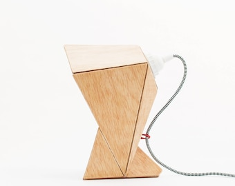 Paper and wood Capucha table lamp, origami paper and wood accent lamp, geometric table lamp, exclusive handmade accent lamp
