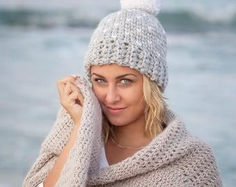 Crochet pattern Fair isle knit look hat woman  pom pom women beanie,  Instant download